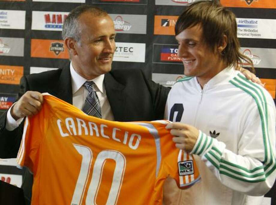 With Franco Caraccio's salary hovering around the $90,000 mark, the Dynamo have cap room for another moderately priced signing. Photo: MELISSA PHILLIP, CHRONICLE