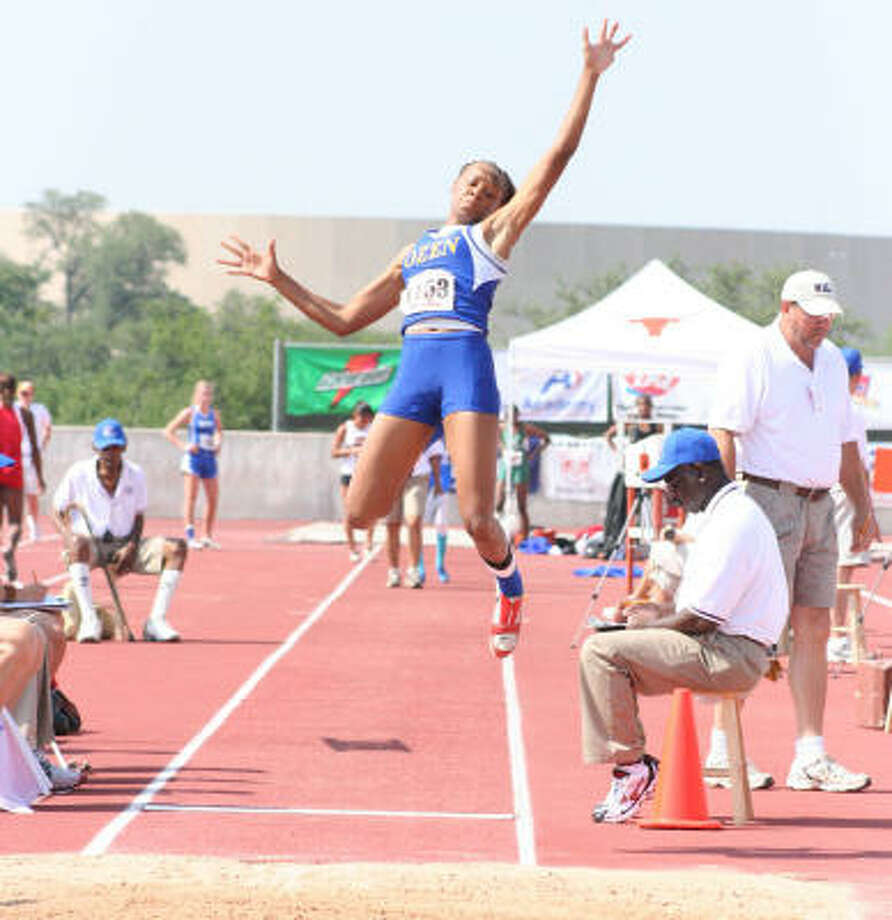 Beaumont Ozen sophomore A'Lexus Brannon in the long jump. She won the event with a jump of 20 feet, 1/2 inch. Photo: Gerald James, For The Chronicle