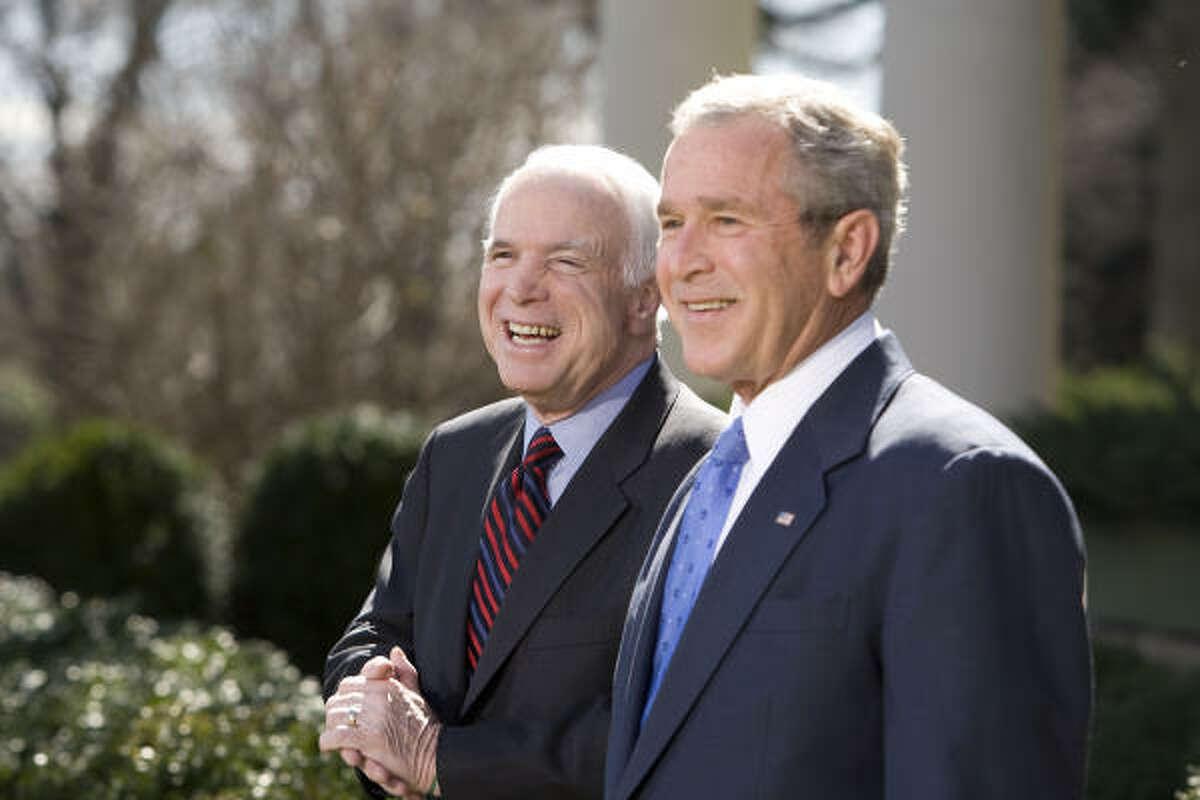 President George W. Bush and Republican presidential candidate Sen. John McCain, R-Ariz., meet at the Rose Garden at the White House, where Bush endorsed McCain for president Wednesday.