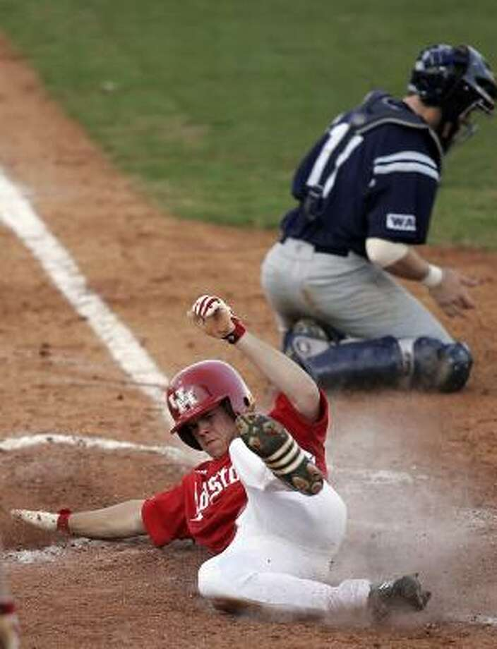 An injury means Jake Stewart won't be scoring runs for UH for awhile. Photo: James Nielsen, Chronicle