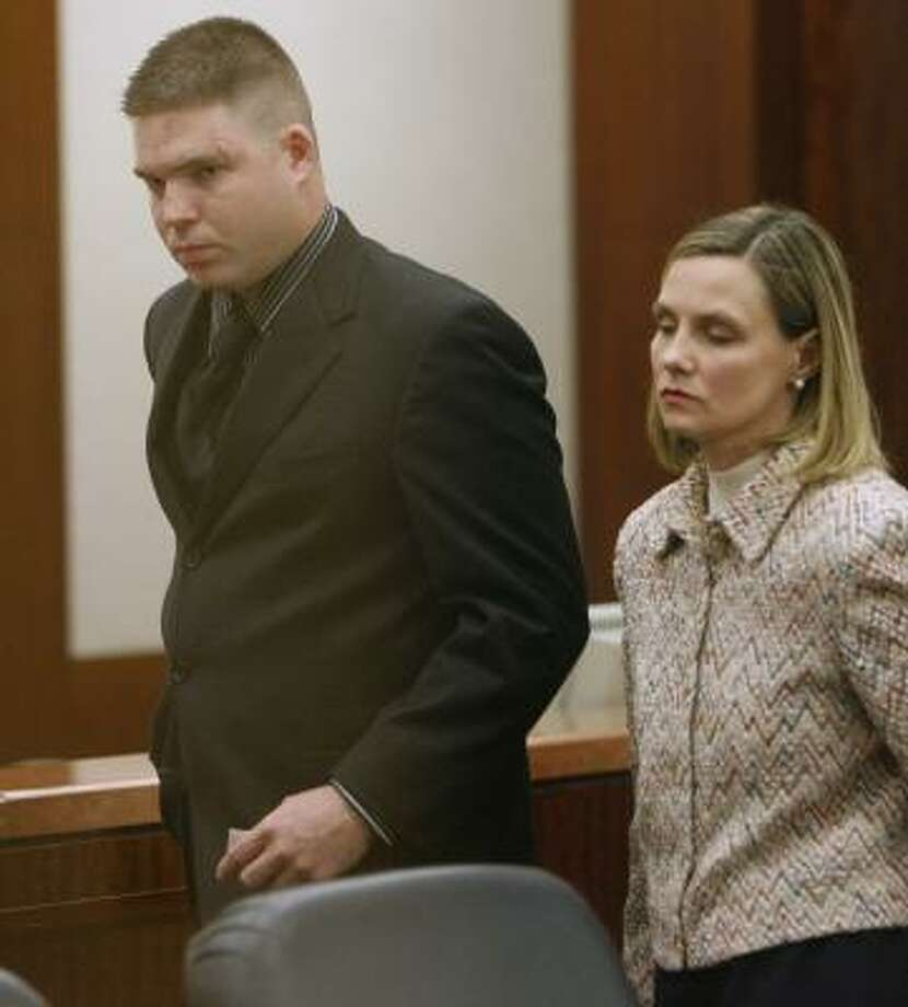 Brent Grady Thomas, with his attorney Stacey Bond, received deferred adjudication and will also perform community service. Photo: KEVIN FUJII, CHRONICLE