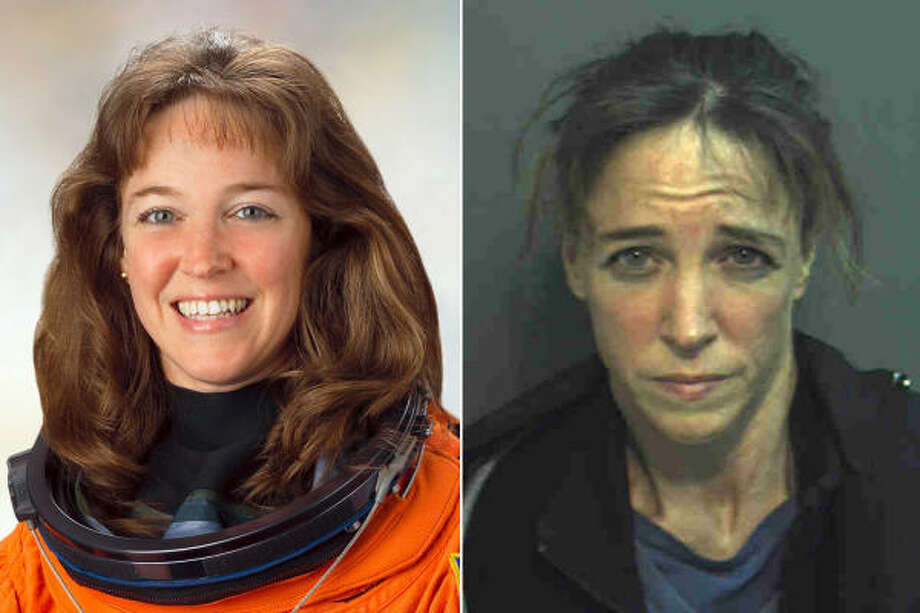 NASA astronaut Lisa Marie Nowak is shown at left in a March 2005 photo provided by NASA, and at right in a February 2007 photo provided by the Orange County, Fla.,  Sheriff's Department. Photo: AP File