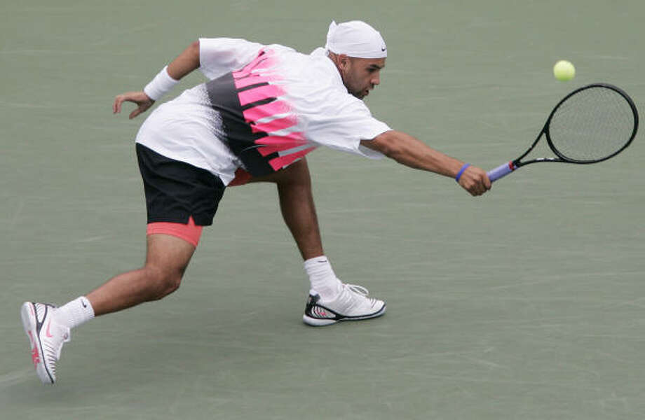 James Blake said his color choices were a tribute to the flashy style of Andre Agassi when Agassi was younger. Photo: ELISE AMENDOLA, AP