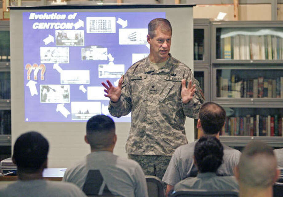 Brig. Gen. Neil Dial, Army deputy director of intelligence, described the state of the global war on terrorism Monday to ROTC members on the University of Houston central campus. Photo: Craig Hartley, For The Chronicle