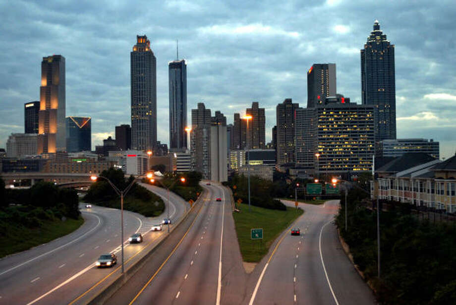 Downtown Atlanta has more than a quarter of its office space unoccupied. Photo: JENNI GIRTMAN, AP