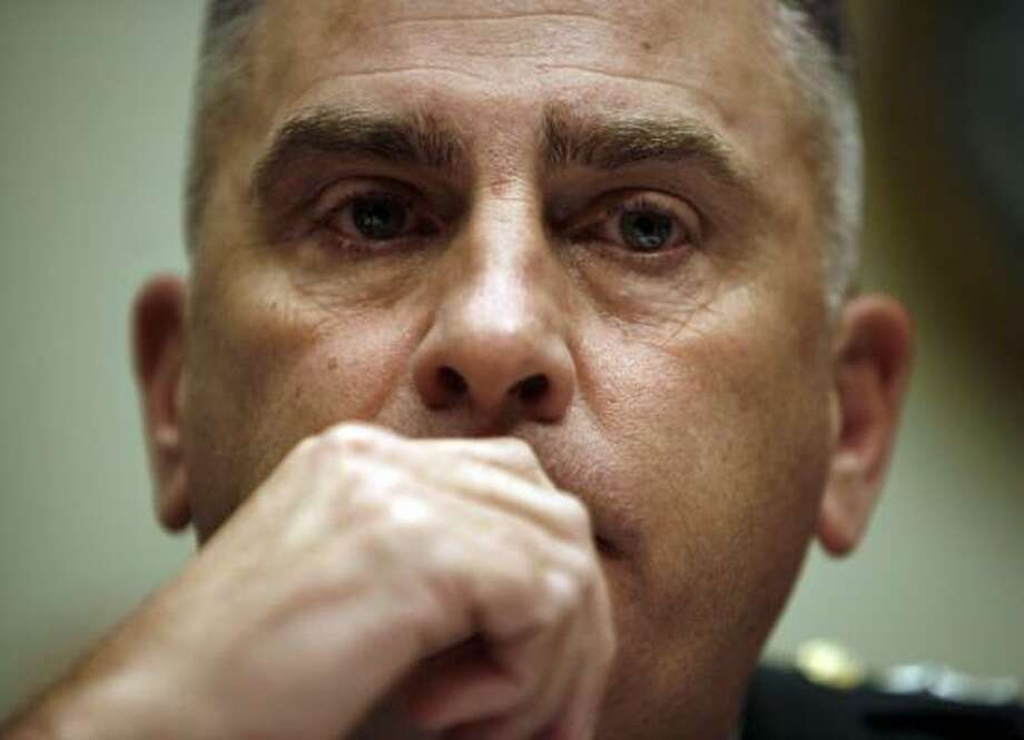 Army Gen. John Abizaid, head of U.S. Central Command, testifies on the Iraq war situation in Washington, D.C., on Wednesday. He recommended speeding up the training of Iraqi forces. Photo: JOSHUA ROBERTS, REUTERS