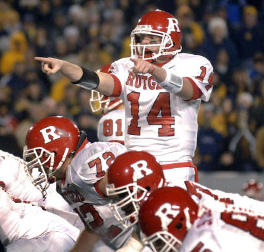 Rutgers and quarterback Mike Teel will be on the field at Reliant. Photo: JEFF GENTNER, AP