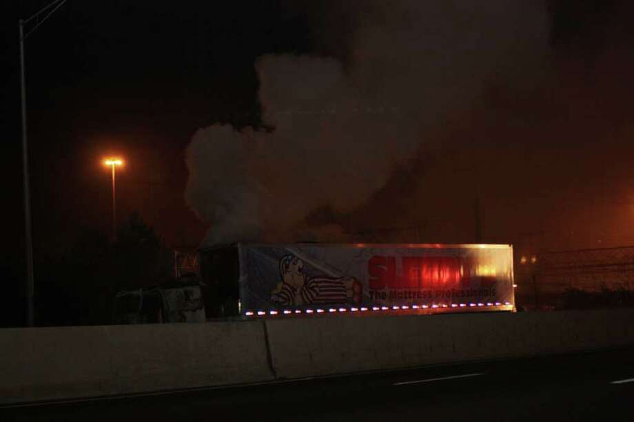 A tractor-trailer fire reported at 4:22 a.m. shut down two lanes of traffic on Interstate 95 north until it was cleared shortly after 8 a.m. Photo: Contributed Photo