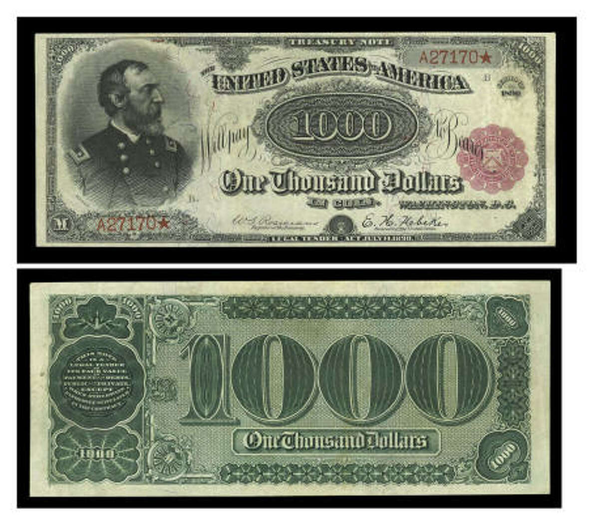 An undated photo shows the front and back of the $1,000 bill that is one of only two known of its type. It is unique because it has red-color Treasury Department seals printed on the front.