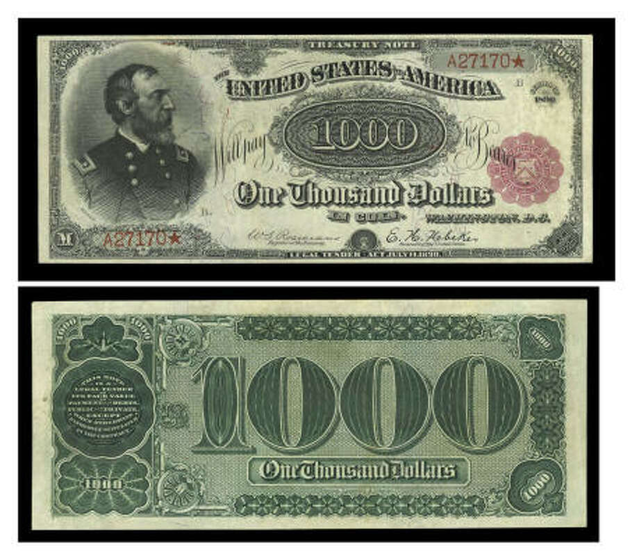 An undated photo shows the front and back of the $1,000 bill that is one of only two known of its type. It is unique because it has red-color Treasury Department seals printed on the front. Photo: AP