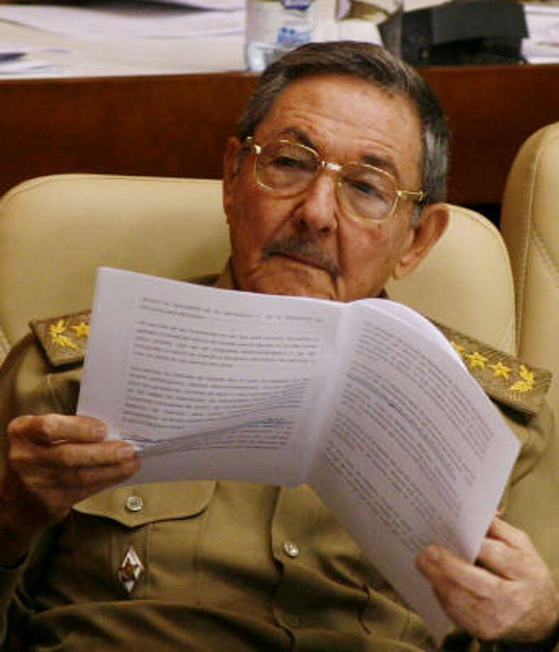Cuban interim leader Raul Castro takes part in the National Assembly's annual session on Friday. Photo: Javier Galeano, AP