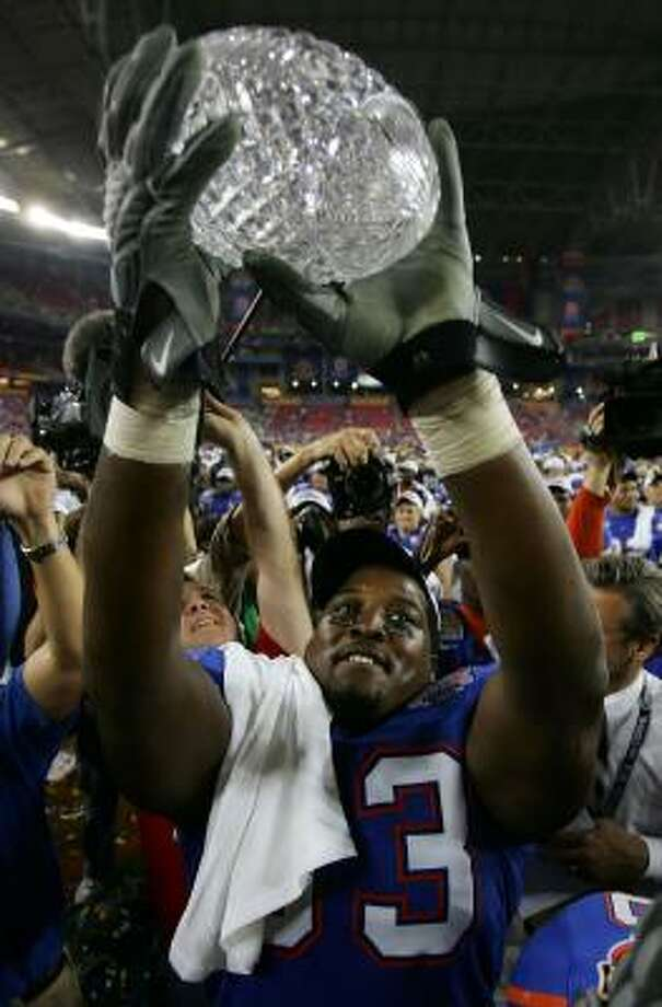 To the victor go the spoils: a shiny national championship trophy. Photo: Jed Jacobsohn, Getty Images