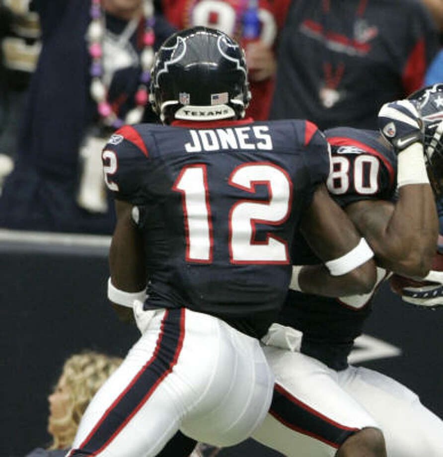 Texans wide receiver Jacoby Jones hopes to get back to his days of play-making and TD's. Photo: Brett Coomer, Houston Chronicle