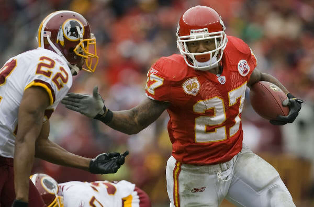 Larry Johnson rushed for 5,996 yards and 55 touchdowns in six-plus seasons with the Chiefs.