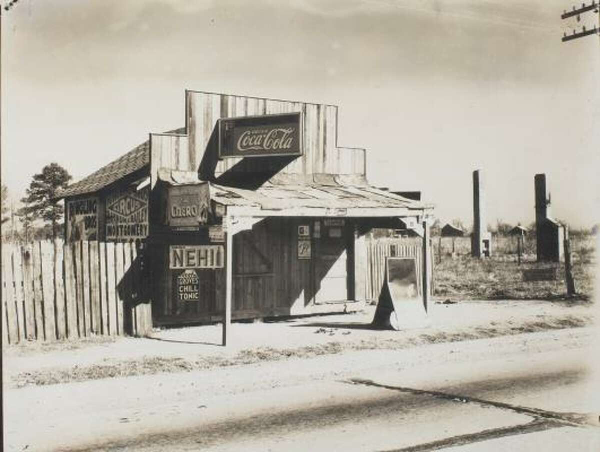 Walker Evans' 1936 silver gelatin print of a roadside store in Alabama is on display at the Menil Collection.