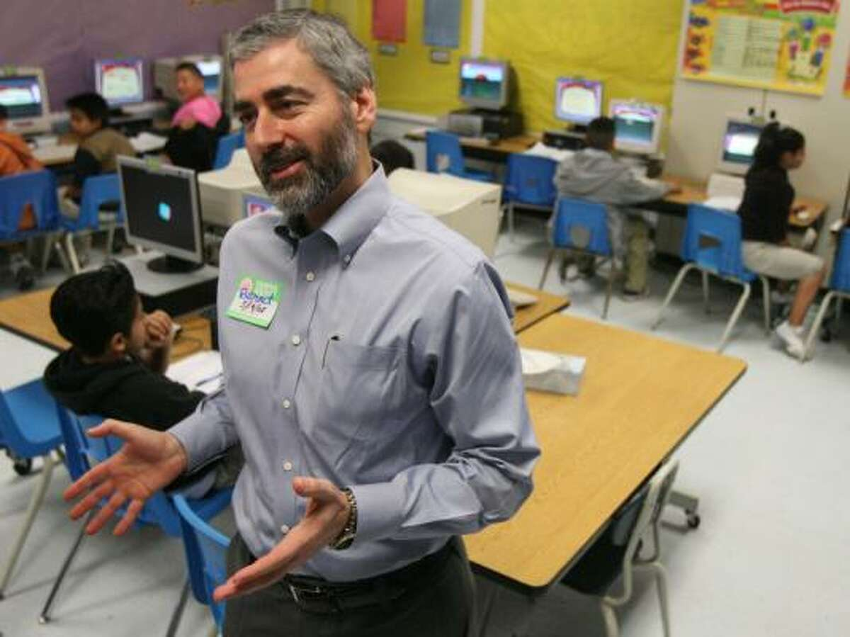 Alex Khachatryan, at Burnet Elementary School last week, helped develop Reasoning Mind out of disappointment over the math education his son was receiving.