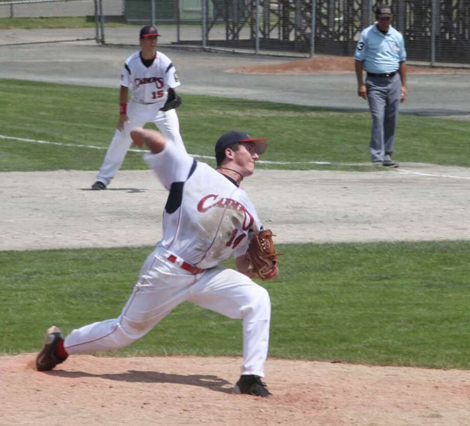 Greenwich Cannons pitcher Ryan Carr delivers to the plate during Saturday's game against Bethel at Palmer Field in Middletown. Photo: Nancy Carr/Contributed Photo