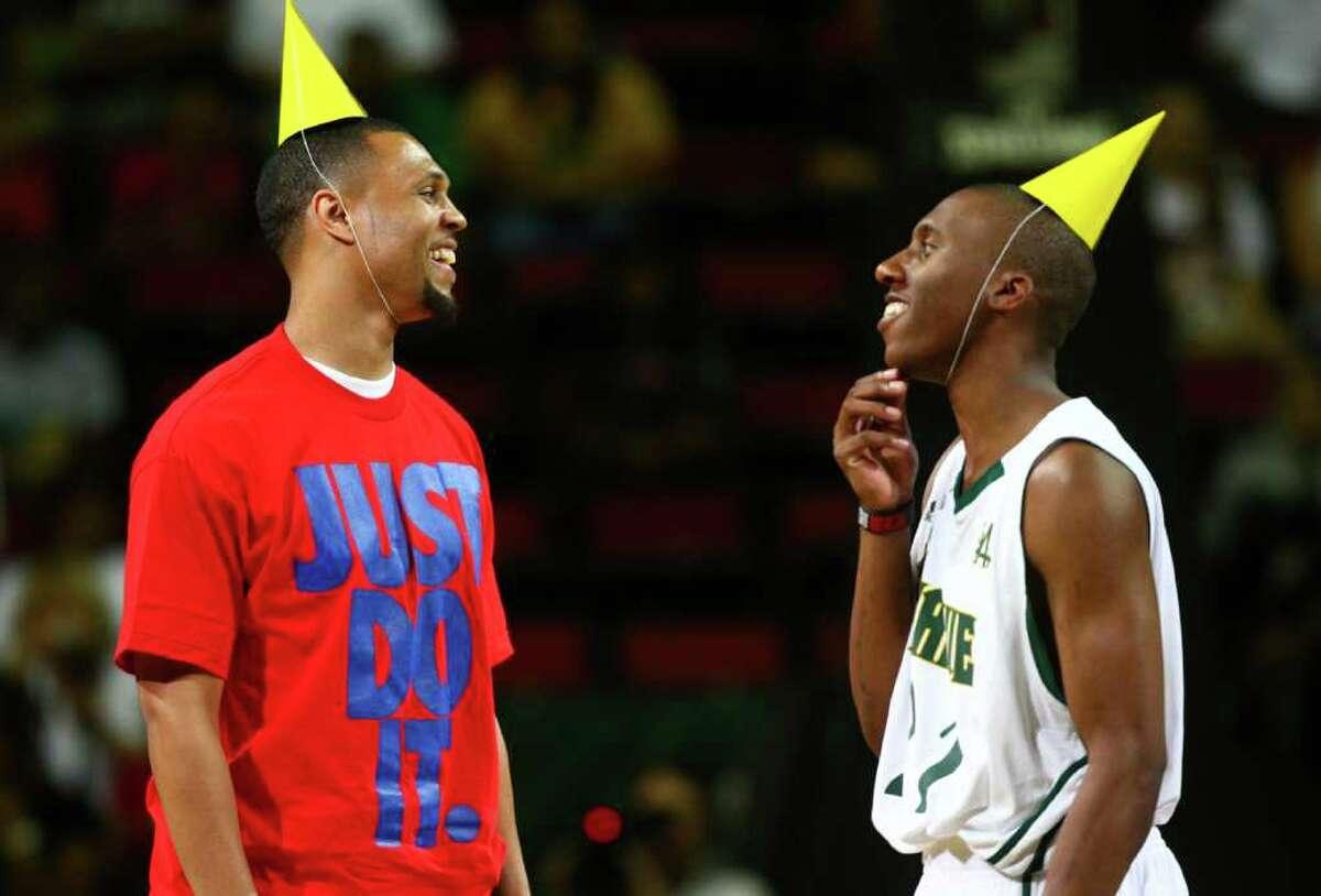 Portland Trail Blazers' Brandon Roy, left, and Nolan Smith wear birthday hats as they celebrate their respective birthdays Saturday.