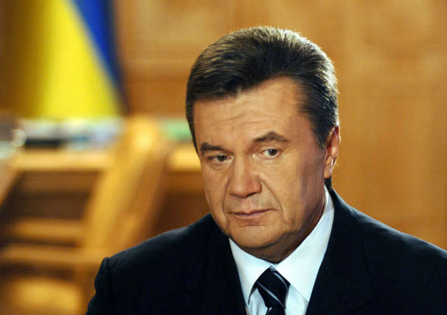 Ukraine Prime Minister Viktor Yanukovych, at a news conference Tuesday in Kiev, said he hoped to meet this week with President Bush during a visit to the U.S. By protocol, he should meet only with the vice president, since he is not the head of state. Photo: SERGEI CHUZAVKOV, AP