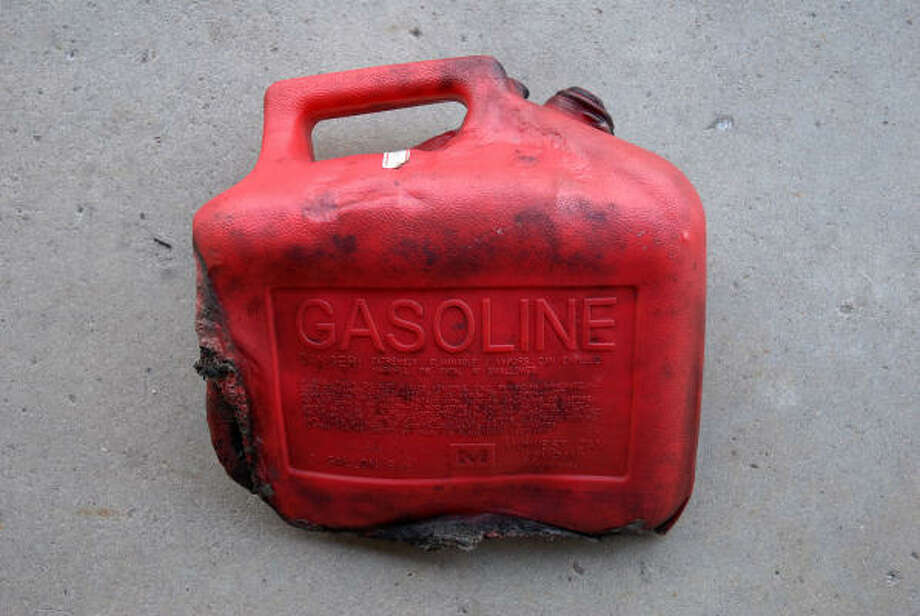 This gas can was found at the scene and is considered evidence. Photo: HPD
