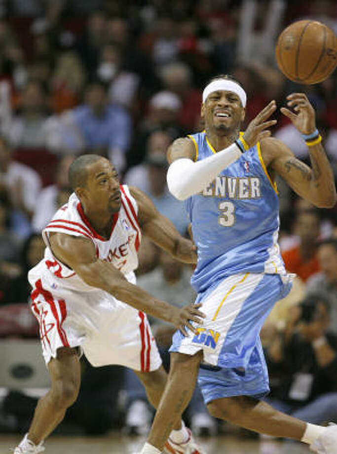 All-Star Allen Iverson draws Rafer Alston on defense at Toyota Center. Photo: Steve Campbell, Chronicle