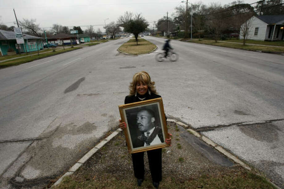 Civil rights veteran Dorothy Pruitt-Harris says Dr. Martin Luther King Jr. would be proud of the area that bears his name but would expect more. Photo: Johnny Hanson, Chronicle