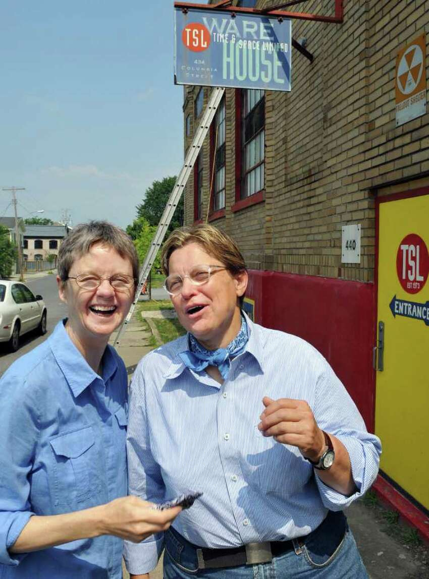 Claudia Bruce and Linda Mussmann, who have been together more than 35 years and want to be the first same-sex couple married under the new law, outside Time and Space Limited in Hudson Wednesday July 20, 2011. (John Carl D'Annibale / Times Union)