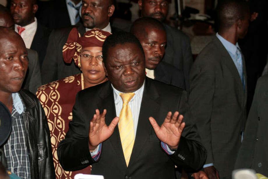 Movement for Democratic Change leader Morgan Tsvangirai attends talks in Harare, Zimbabwe, Thursday Sept. 11. Photo: AP