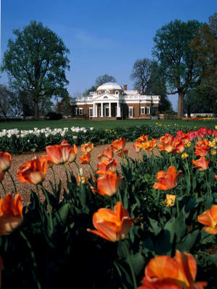 Tulips in the one of the gardens at Monticello in Charlottesville, Va. Photo: Stephanie Gross, Thomas Jefferson Foundation