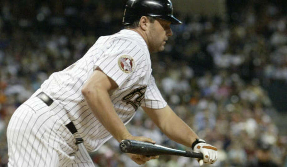 Roger Clemens lays down a sacrifice bunt in the second inning Thursday against the Pirates at Minute Maid Park. Photo: Steve Ueckert, Chronicle