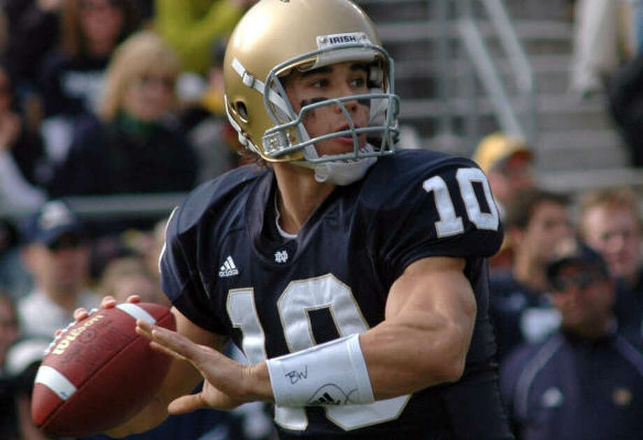 Brady Quinn, Notre Dame: He could be the first pick in the draft. Photo: JOE RAYMOND, AP