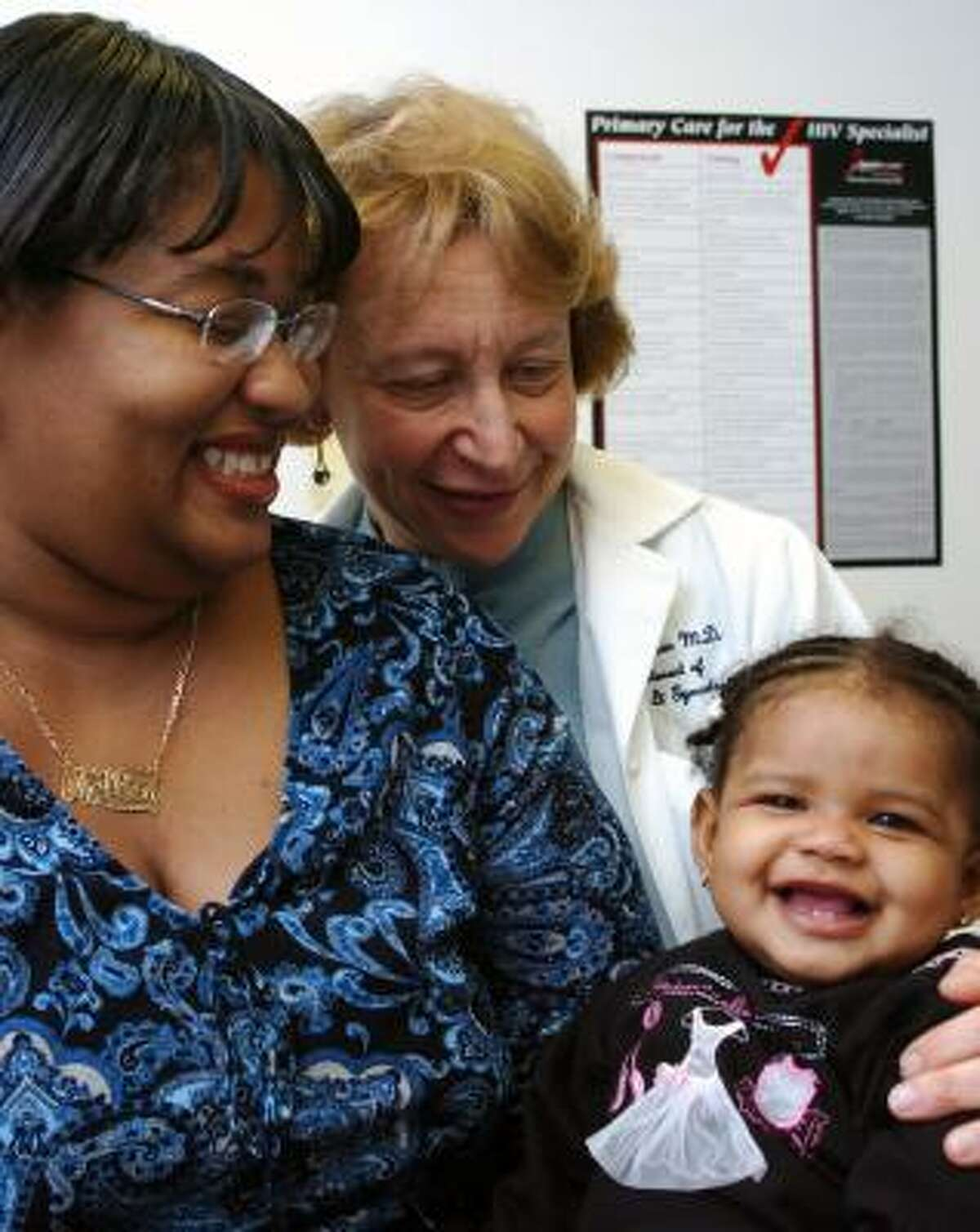 Melissa Baines, left, and her daughter Journe't are in the program coordinated by Dr. Judy Levison, of Baylor College of Medicine, at Harris County Hospital District.