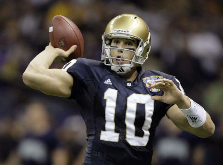 The quarterback-hungry Texans and Notre Dame quarterback Brady Quinn could be a match made in the NFL. Photo: Alex Brandon, AP