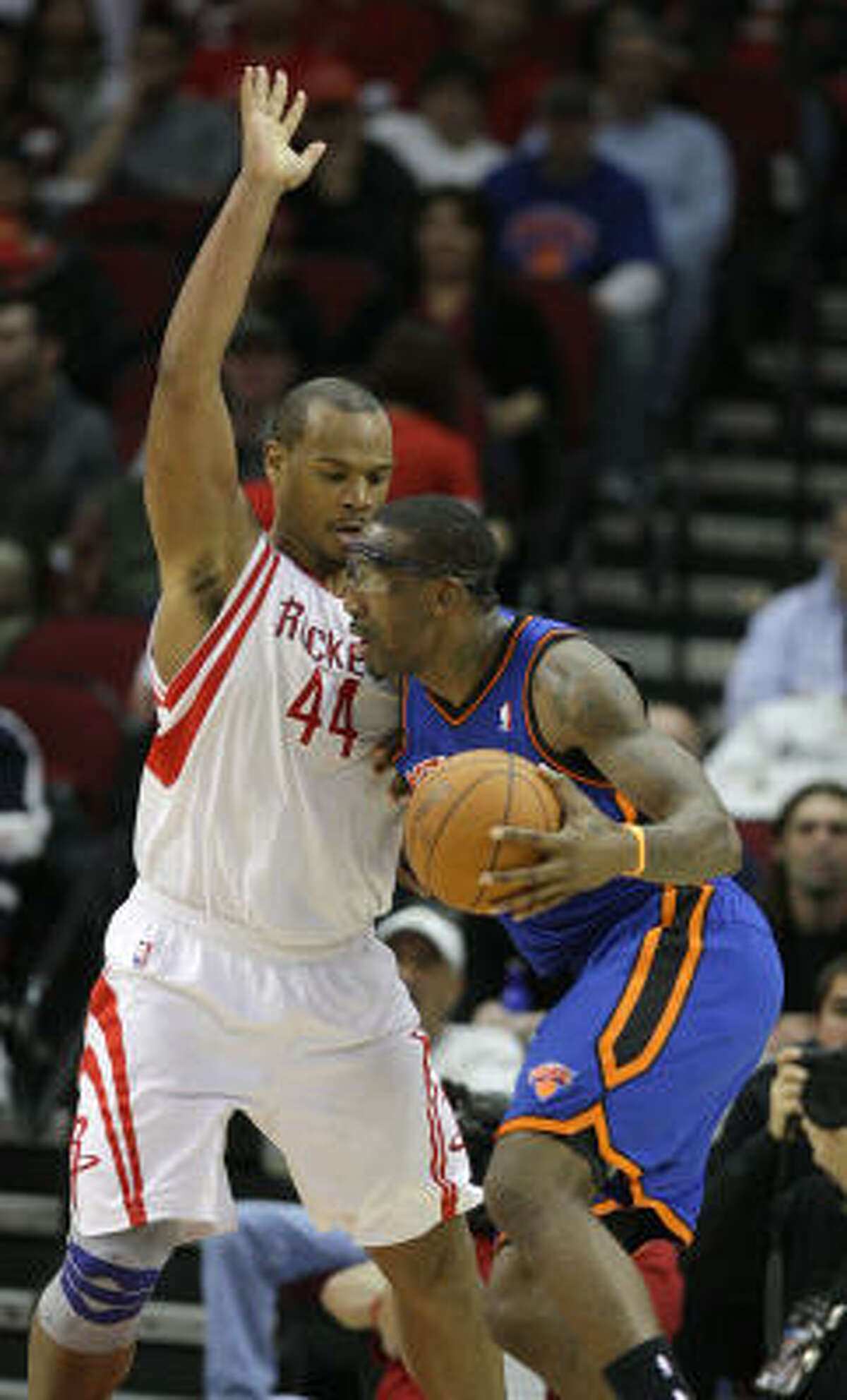As part of a nightmarish stretch for a defensive player, the Rockets' Chuck Hayes took on Amare Stoudemire on Wednesday night. Stoudemire scored 25 points, but the Rockets were able to keep the other Knicks in check because Hayes didn't need double-team help on Stoudemire.