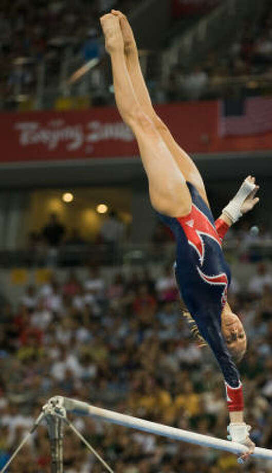 American Nastia Liukin finished second in the uneven bars despite having a gold-medal score. Photo: Smiley N. Pool, Chronicle