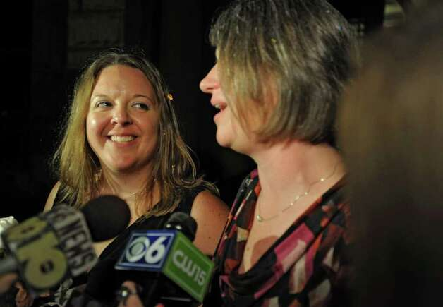 Beth Relyea, left, and Joanne Trinkle talk to the media after exiting City Hall in Albany, N.Y. after being one of the first same-sex couples to marry in New York State on Sunday, July 24, 2011.  (Lori Van Buren / Times Union) Photo: Lori Van Buren