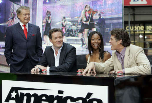 "Regis Philbin, left, host of the new NBC program ""America's Got Talent,"" chats with the show's celebrity judges on the ""Today"" show Monday. From left, the judges are England's Piers Morgan, actress/singer Brandy and actor/singer David Hasselhoff. Photo: RICHARD DREW, Associated Press"