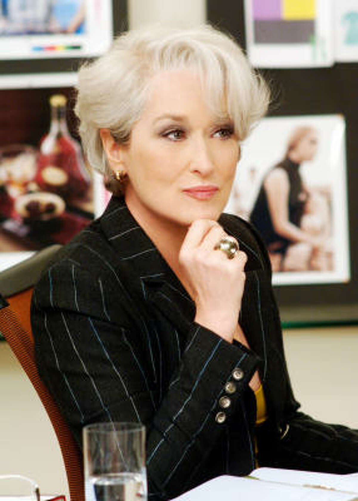 Miranda Priestly (Meryl Streep, right) has her new employee (Anne Hathaway) on the ropes, in The Devil Wears Prada.