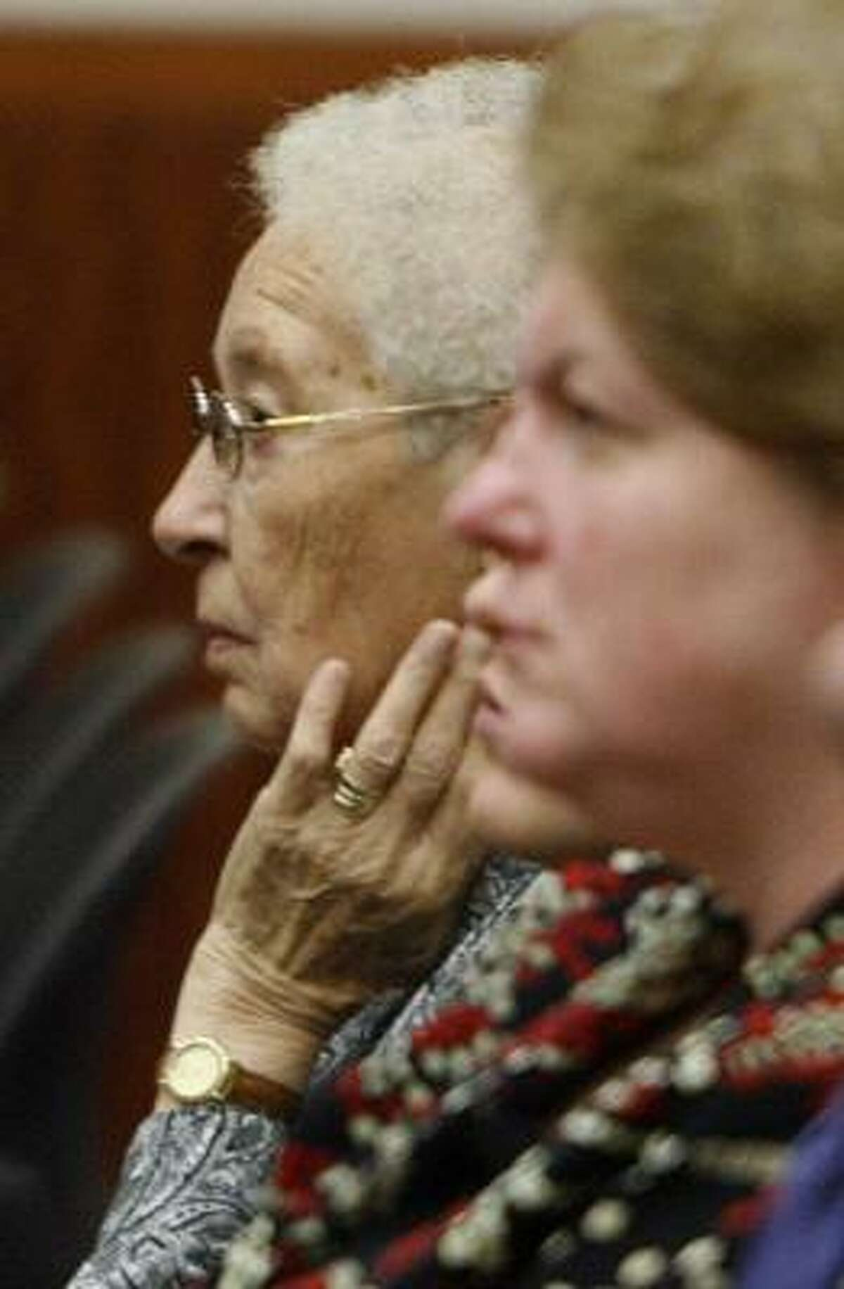 Jutta Karin Kennedy, mother of Andrea Yates, listens to closing arguments in Yates' retrial today.