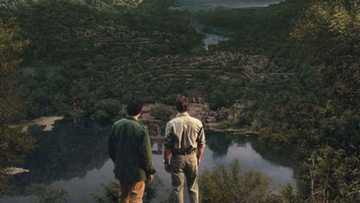 John (Matthew Settle, right) and Wil (Thomas Kretschmann) arrive at the ruins where the mysterious scrolls were discovered, in The Celestine Prophecy.