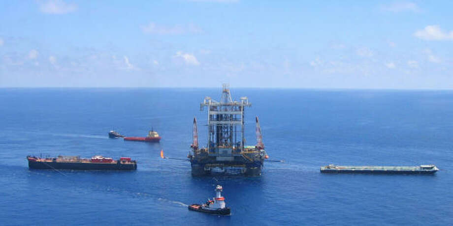 Transocean's Cajun Express, an ultra-deepwater semisubmersible rig, drills a test well for Chevron's Jack prospect in the Gulf in May. Photo: Transocean