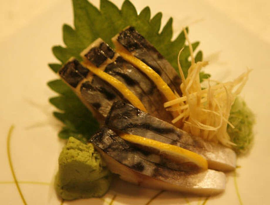 Mackeral sashimi. Photo: Carlos Antonio Rios, Chronicle