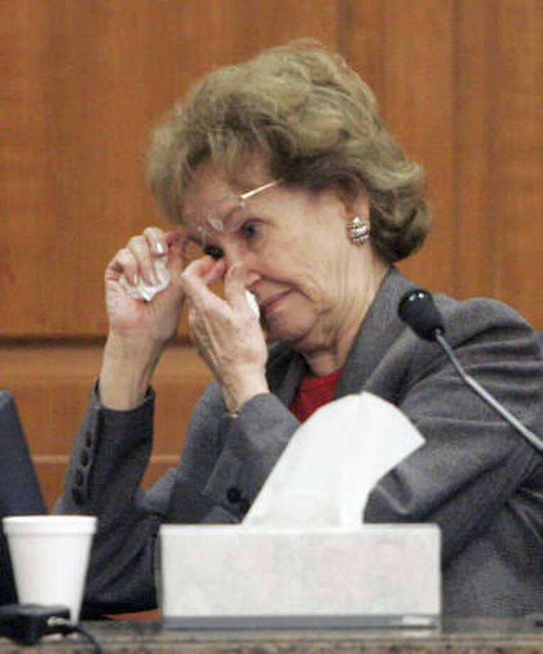 Mildred Harris wipes tears away as she recounts finding out that her son David Harris had been run over by her daughter-in-law. Photo: Pat Sullivan, AP