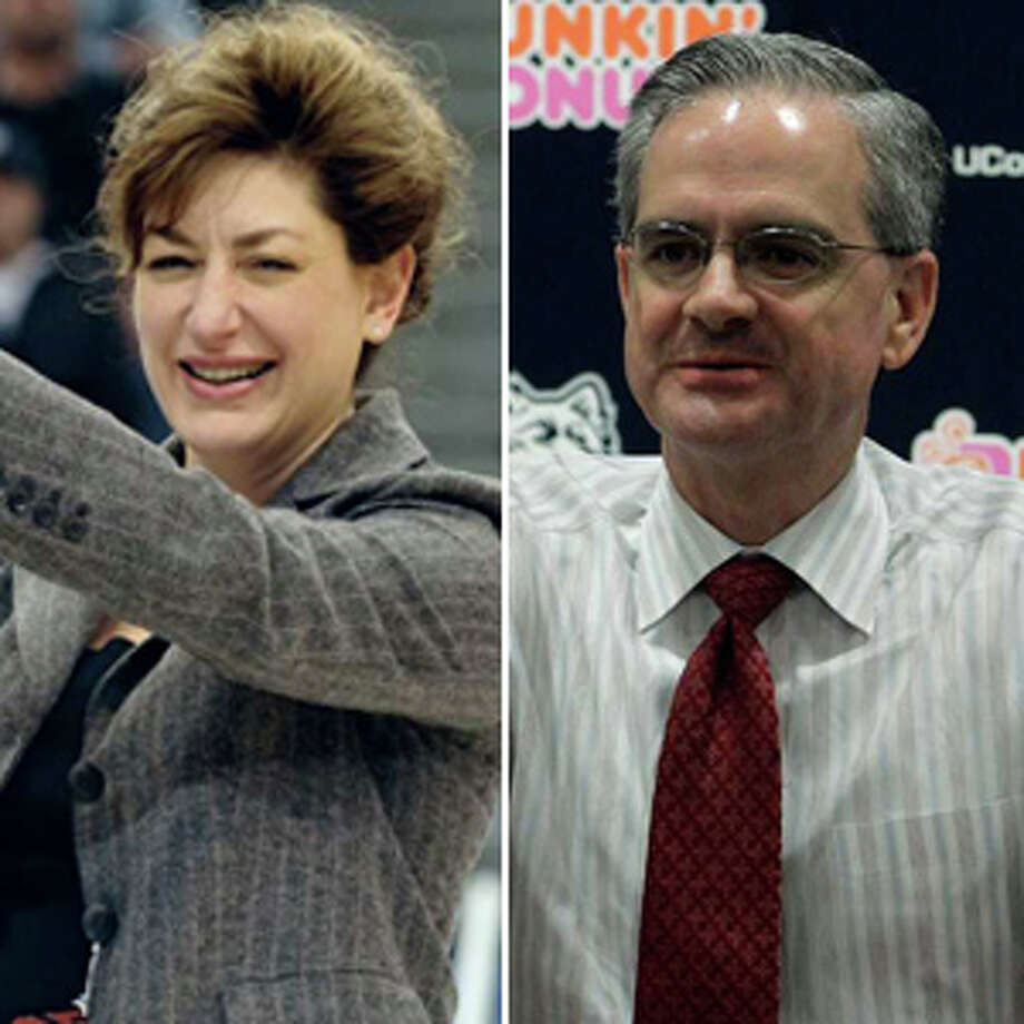 UConn president Susan Herbst (left) and athletic director Jeff Hathaway.