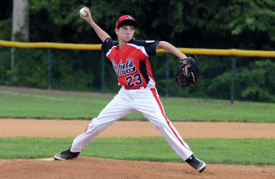 Fairfield American's Jack Oricoli (23) pitches during the little league baseball game against Berlin at Old Tavern Rock Park in Orange on Sunday, July 24, 2011. Photo: Amy Mortensen