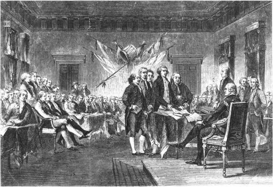 Thomas Jefferson leads the signing of the Declaration of Independence in Philadelphia in 1776. Photo: CHRONICLE FILE