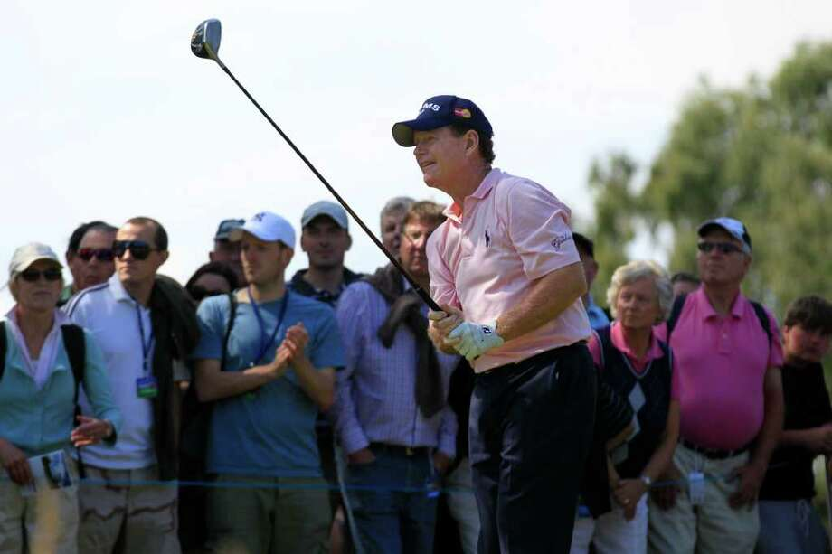US's Tom Watson tees off on the 2nd hole during the final round of the Senior British Open Championship at Walton Heath Golf Club in Walton On The Hill, England, Sunday, July 24, 2011. (AP Photo/Sang Tan) Photo: Sang Tan / AP