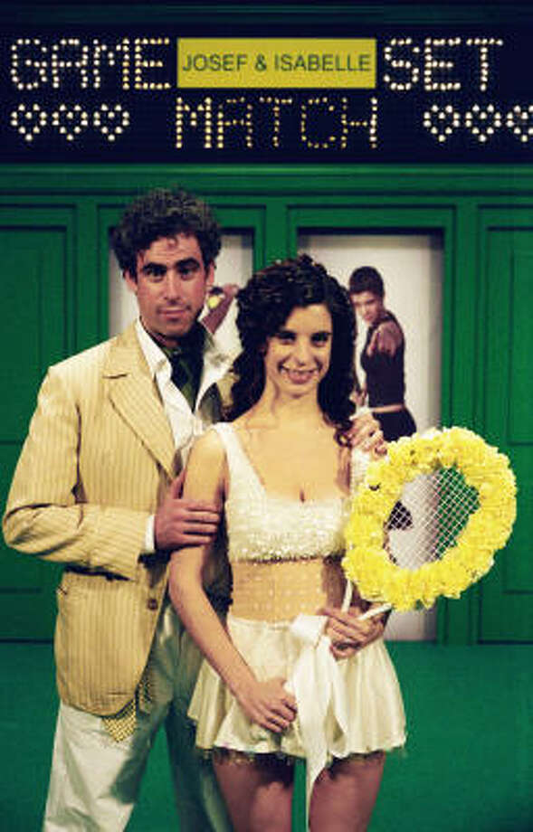 Tennis and marriage are more than a game of love for one couple (Meredith MacNeill and Stephen Mangan) in Confetti. Photo: Courtesy Photo