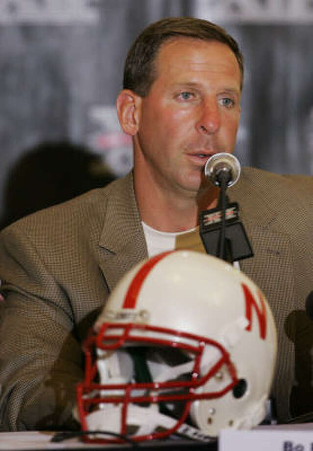 Nebraska football coach Bo Pelini speaking about his return to the Big 12. Photo: Orlin Wagner, AP