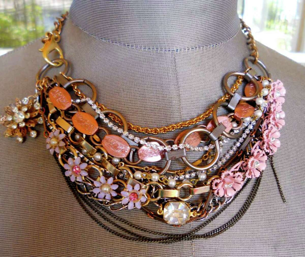 This undated photo courtesy of Alisa Hopper shows a necklace by Hopper. Hopper, of Roseville, Calif., refashions vintage costume jewelry into modern, wearable pieces. (AP Photo/Alisa Hopper)